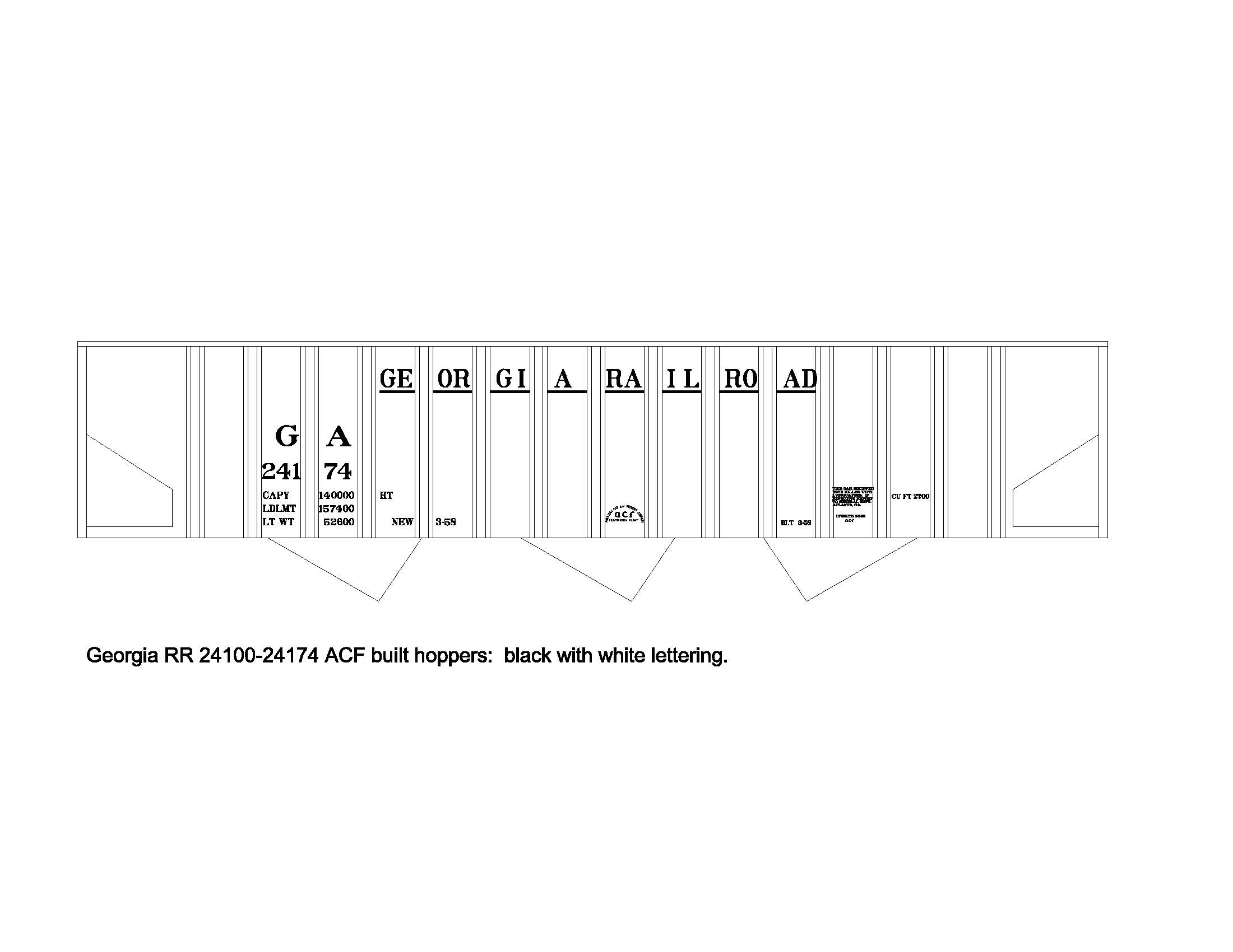 Curt Fortenberry Decals Playstation 3 Block Diagram Georgia Rr Bay Rib Side Hopper This New Set Is For The Acf 1958 Built Hoppers In Series 24100 24174 Black With White Lettering